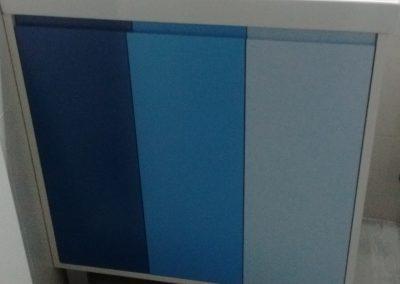 Conjunto de mueble de baño lacado tres tonos de azul